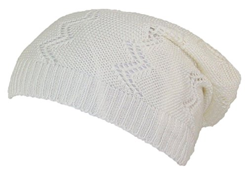 D&Y Women's Loose Knit Lightweight Vertical Zig Zag Pattern Skull Cap (One Size) - Off (Knit Skull Cap Pattern)