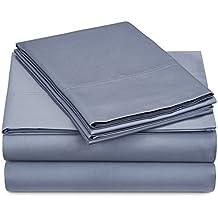 Pinzon 500-Thread-Count Pima Cotton Sateen Sheet Set - Queen, Flint Blue