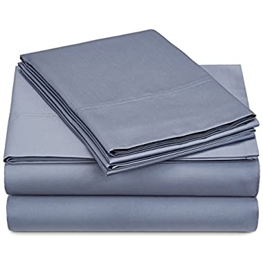 Pinzon 500-Thread-Count Pima Cotton Sheet Set - Queen, Flint Blue