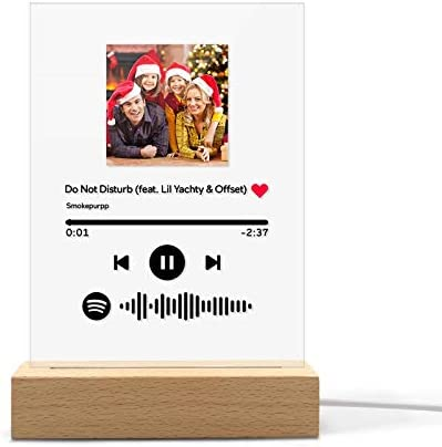 Custom Spotify Glass Art Night Light Acrylic Music Photo LED Lamp Plaque Scan Photo Spotify Glass Personalized Song Album Display Gift Birthday Wedding Anniversary Valentine's Day Room Bedside Decor