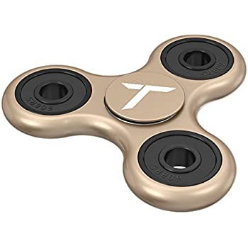 Trianium Fidget Spinner [Tri-Ranger Classic Charcoal-Black/Gold] Phone Stress Reducer toys for Kids, Adult [Flick+Spin] Single/both Hands Finger Figit Spinner Toys Perfect For Anxiety,Autism,Boredom