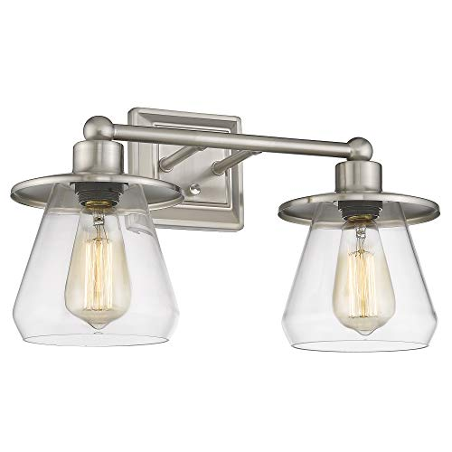 Beionxii Bathroom Vanity Light Fixtures, 17.5 Inches Large 2-Light Powder Room Wall Light Sconces Modern Brushed Nickel Finish with Clear Glass - BXS003 Series