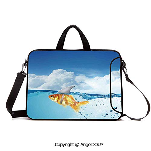 AngelDOU Neoprene Laptop Shoulder Bag Case Sleeve with Handle and Extra Pocket Cute Goldfish with Shark Fin on Top of The Water Fake Comic Nature Image Compatible with MacBook/Ultrabook/HP/Acer/Asus