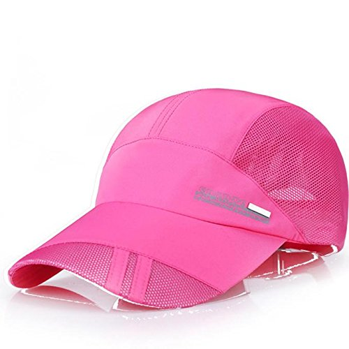Adult Mesh Hat Quick-Dry Collapsible Sun Hat Outdoor Sunscreen Baseball Youth Cap Hotpink