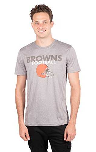 NFL Cleveland Browns Men's T-Shirt Athletic Quick Dry Active Tee Shirt, X-Large, Gray