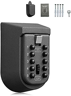 4c8ab7051c3c Key Safe Lock Box Outdoor Storage Box with Code Combination Password  Security Lock Waterproof Wall Mount Push Button for Home Family Realtor  10-Digits