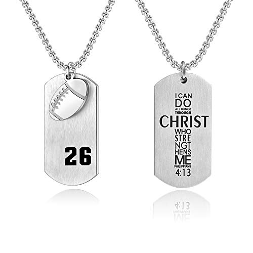 Bible.Shop Men's Football Player Number 26 Stainless Steel Cross Dog Tag Pendant I Can Do All Things Bible Verse Necklace(Silver)