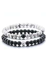 YouBella Multicolour Natural Stones Stylish Couple Love Bracelet for Girls/Women/Boys/Men