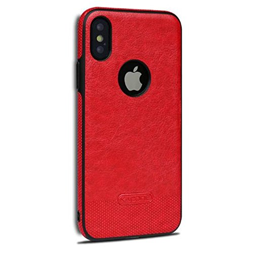 Price comparison product image iPhone X Soft Business Leather Case, Auroralove Red Luxury Classical Comfortable Slim Cow Leather Shockproof Cover for iPhone X