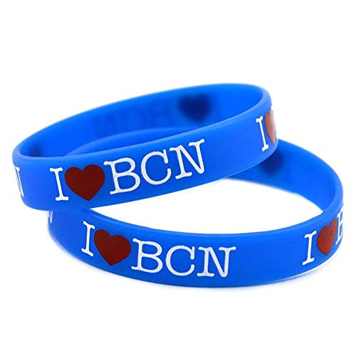 North King Pulseras de Silicona con Refranes I Love BCN me Encanta Barcelona, Pulseras de Goma para los Hombres, a los niños motivación, ...