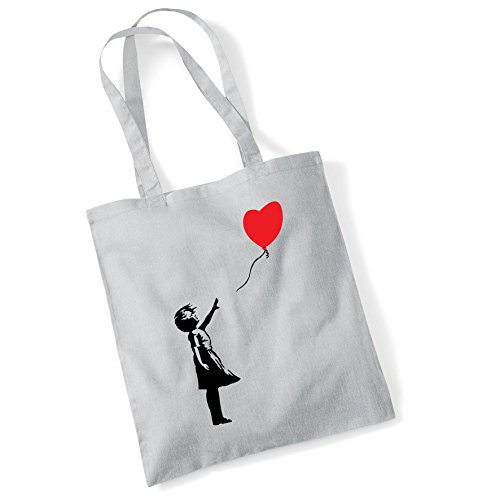 For Gifts Bag Shopper Banksy Bags Printed Balloon Lgrey Girl Women Tote Cotton 45FavqwwM