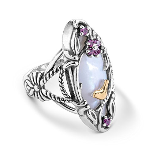 - Carolyn Pollack Sterling Silver and Brass Mother of Pearl and Rhodolite Garnet Gemstone Flower Bird Ring Size 10