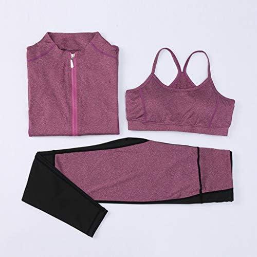 YANXIH 女性のヨガスーツシームレスブラ+コート+パンツジムランニングパンツ3ピース服トラックスーツセット (Color : T2, Size : M)