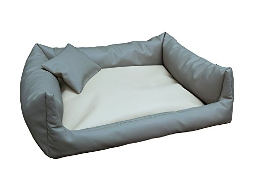 Divano per cani Rex sonno Piazza Cuccia Cuscino per Cani cestino cani divano + Cuscino Taglie  S – XXL (XL – 90 x 120 cm, Grigio ecru)