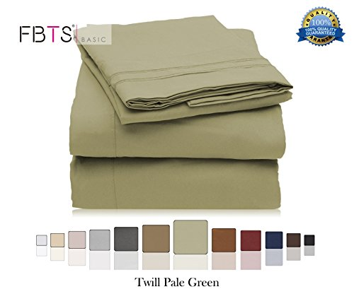 Bed Sheet Sets Double Brushed Microfiber 1800 Series Egyptian Quality Bedding Sets 18 Inches Deep Pocket (Queen, Green) 4 Piece Solid Pattern Hypoallergenic by FBTS Basic