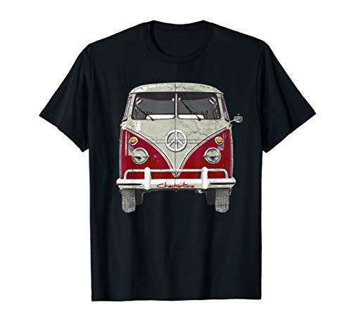 Vintage 1960s Hippie Red Micro Bus Van T-Shirt Gift -