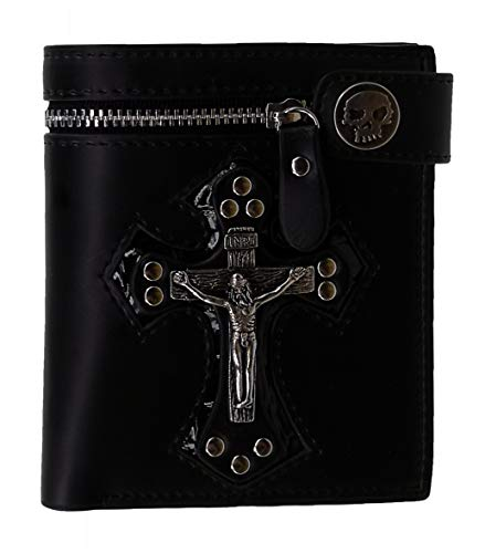 ABC STORY Mens Skull Button Snap Inri Cross Wallet Bifold Genuine Leather Black