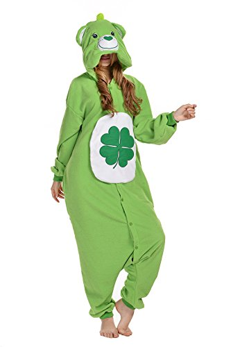 Unisex Aduit Pajamas- Plush One Piece Cosplay Animal Costume (L, Green bear) (Adult Costumes /care Halloween Bear)