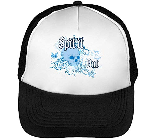 Spit It Out Gorras Hombre Snapback Beisbol Negro Blanco