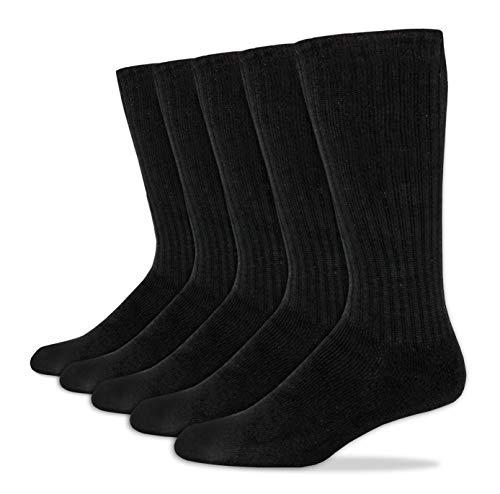Dockers Men's 5 Pack Cushion Comfort Sport Crew Socks, Black, Shoe Size: 6-12 Size: 10-13