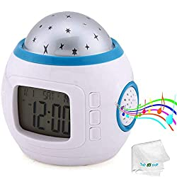 Alarm Clock Children Sleep Clock Color Change Starry Night Sky Star Projection Music Digital Clock with Backlight Led Night Light Calendar Thermometer for Children Kids Baby Boys Girls Bedroom
