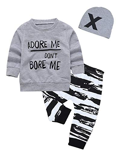 Newborn Baby Boy Clothes Long Sleeve Hoodie Tops,Striped Pants+Cool Hats 3pcs Outfit Set