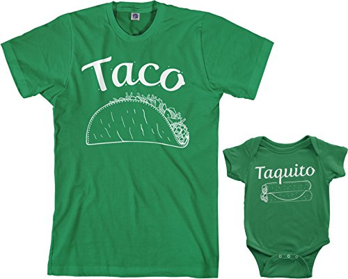 Threadrock Taco & Taquito Infant Bodysuit & Men's T-Shirt Matching Set (Baby: 6M, Kelly Green|Men's: XL, Kelly Green)