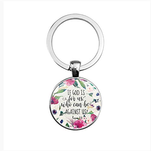 Bible Verse Scripture Inspirational Keychain, Christian Inscription Faith Gifts Car Keyring(Silver Color) (D3 Romans 8:31)