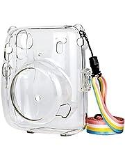 Prettyia Capa protetora de cristal, compatível com câmera instantânea Instax Mini 11, capa rígida de policarbonato, com alça de ombro removível de arco-íris – transparente