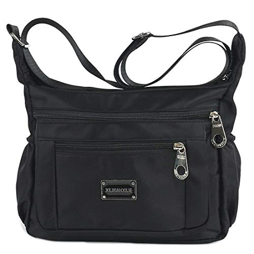 Nylon Shoulder Bag - Crossbody Bags for Women Water Resistant Lightweight Nylon With Shoulder Bags (black)