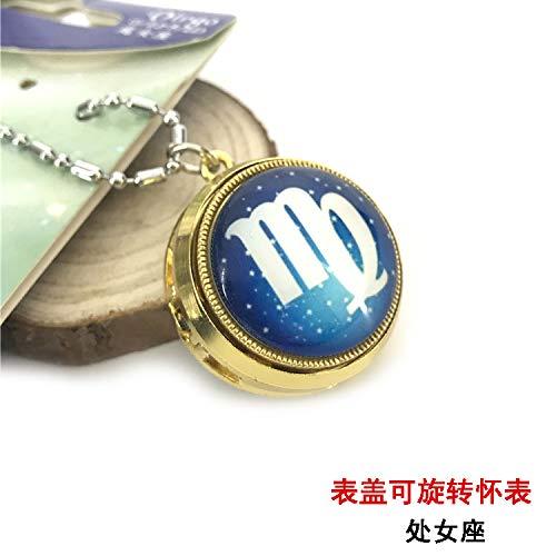 zodiac taurus gemini pocket sweater chain necklace pendant table flip cover rotatably (virgo ()