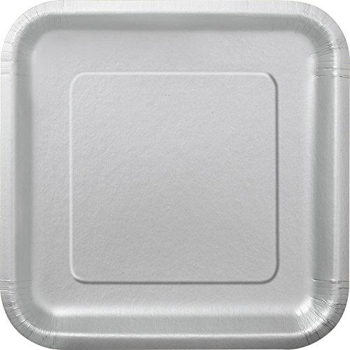 Square Silver Paper Plates, 14ct