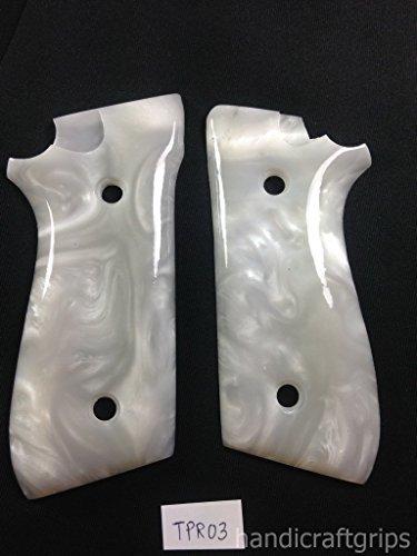 New Taurus Pt92 Pt99 Pt100 Pt101 Decocker PT pt 92 99 100 101 White Pearl Color Polymer Resin Grips Handmade #Tpr03 - Polymer Pearls