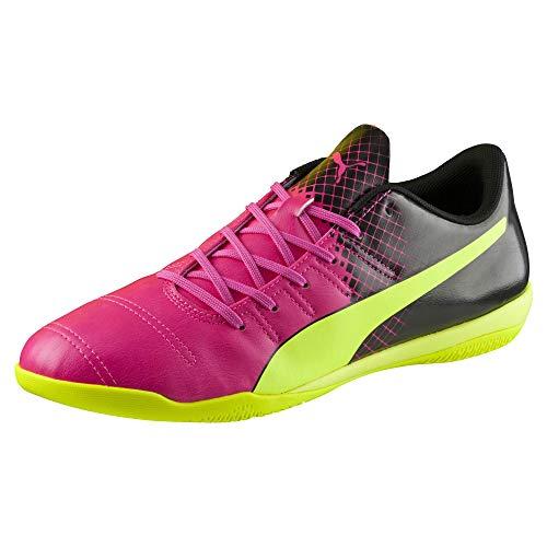PUMA Men's Evopower 4.3 IT Pink Glo/Safety Yellow/Black Oxford
