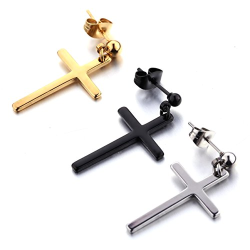 (3 Pairs Stainless Steel Earrings Cross Dangle Studs Earrings piercing Jewelry For Men and Women)