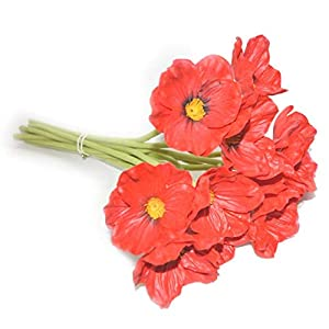 10 PCS new arrivals high quaulity Fresh Artificial Mini Real Touch PU/ latex Corn Poppies Decorative Silk fake artificial poppy flowers for Wedding holiday Bridal Bouquet Home Party Decor bridesmaid bouquets (red) 1