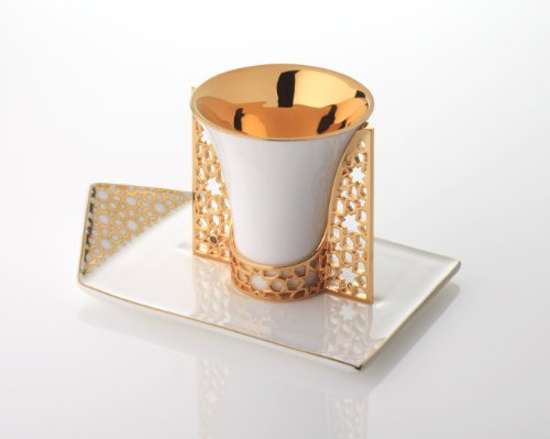 Luxury Espresso Cup, Holder and Saucer, Merdinger Design, Fine Bone China Porcelain Cup and Saucer, Plated With 18K Real Gold, Arabesque Pattern Decoration, A Collector's Item Of Merdinger Quality
