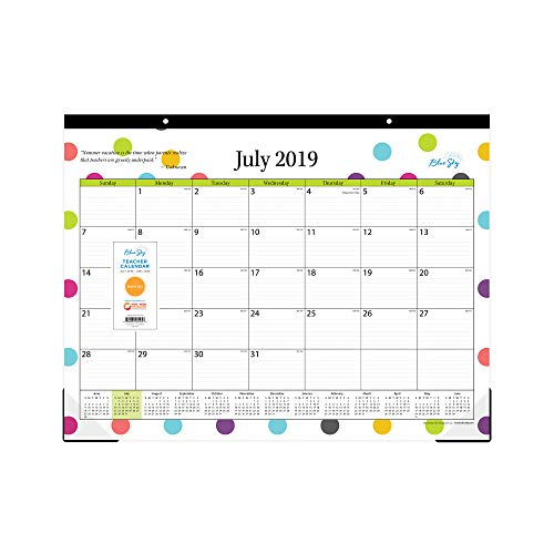 Blue Sky 2019-2020 Academic Year 105496-A20 Teachers Monthly Desk Pad Calendar, Ruled Blocks, 22
