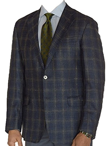 - Robert Talbott Blue with Gold Olive Windowpane Carmel Classic Fit Sport Coat 44 / Regular
