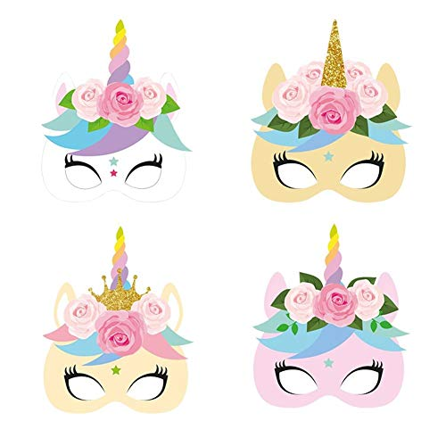 (Photobooth Props - 12pcs Pack Unicorn Face Paper Mask Baby Shower Party Masks Theme Birthday Dress Up Photo Props - Unicorn Dummy Unicorn Toy Unicorn Face Photobooth Poni Party Kid Toy A Ch)