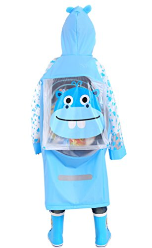 Aircee Waterproof Rain Coat Slicker for Kids, Girls, Boys, Poncho Jacket Gear (M (Fit 3'7''~3'11'' Height), Blue - Poncho Kid Girls