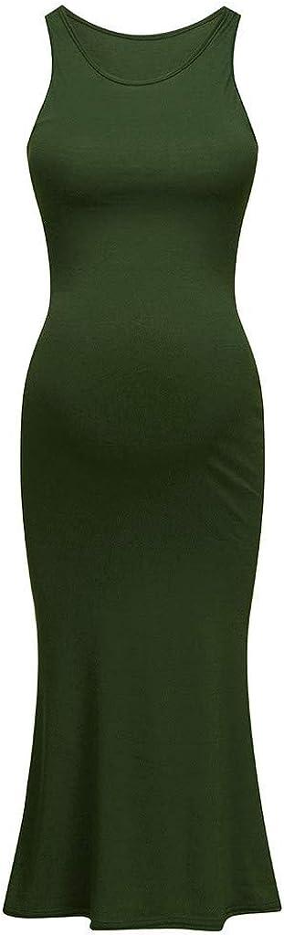 Oillian Women Maternity Sleeveless Tank Dress Solid Crew Neck Bodycon Maxi Dress