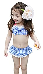 Girls 3 Piece Plaid Swimwear Bikini Sets with Bowtie Blue M