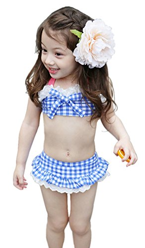Girls 3 Piece Plaid Swimwear Bikini Sets with Bowtie Blue M (Bowtie Swimsuit)