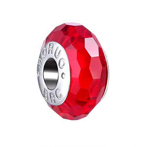 Ruby Birthstone Charm - Boruo 925 Sterling Silver Czech Crystal Fascinating Facet Ruby Glass Charms Beads Spacers July Birthstone Solid Core Charm Fit all Bracelets.