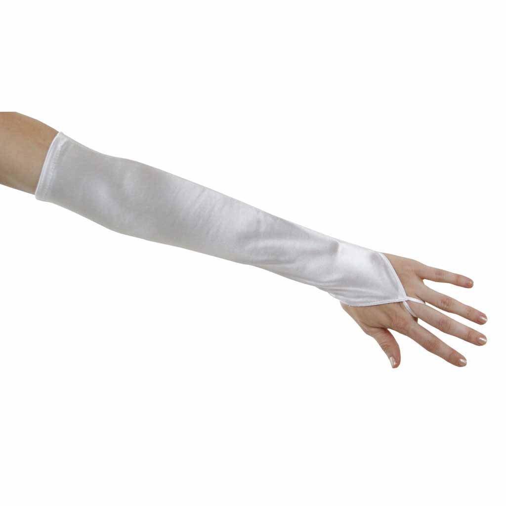 Soft Serenade Elbow Length Fingerless Gloves, White