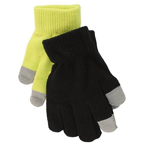 Price comparison product image So Teen Girls 2 Pack Touchscreen Gloves - Lime Green/Black