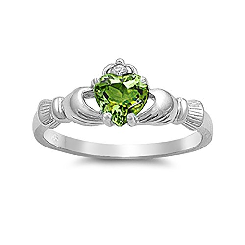Blue Apple Co. Irish Claddagh Heart Promise Ring Simulated Peridot Round CZ 925 Sterling Silver, Size-9