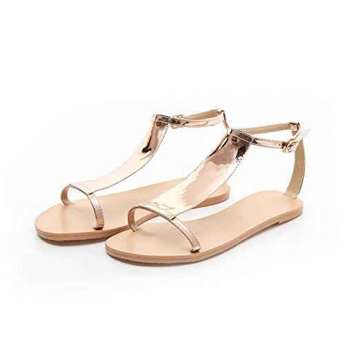 AllhqFashion Womens Buckle Open Toe No-Heel PU Solid Flats-Sandals Gold Se45Az7Dcu