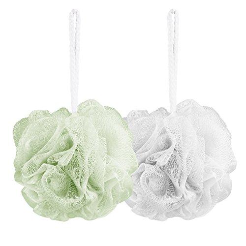 Aahlsen Bath Shower Sponge, Bath Loofahs Mesh Pouf Shower Ball of 2 Packs Cleanse, Soothe Skin White + Matcha Green